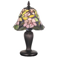 """Tiffany Floral Art Glass Begonia Mini 13"""" H Table Lamp with Bowl Shade"""