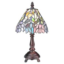 """Wisteria Tiffany Floral Mini 13.5"""" H Table Lamp with Bowl Shade"""