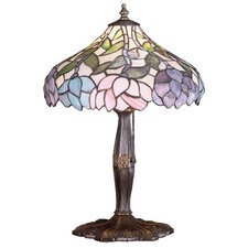 <strong>Meyda Tiffany</strong> Wisteria Tiffany Floral Art Glass Accent Table Lamp