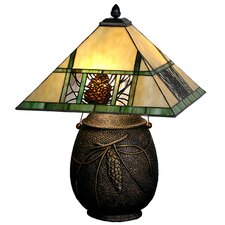 "Lodge Tiffany Pinecone Ridge 19.5"" H Table Lamp with Square Shade"