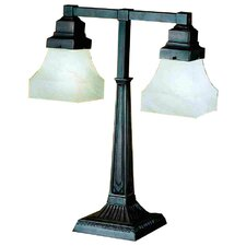 """Bungalow Alabaster Swirl Two Arm 20"""" H Table Lamp with Square Shade"""