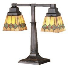 """Martini Mission Two Arm 20"""" H Table Lamp with Square Shade"""