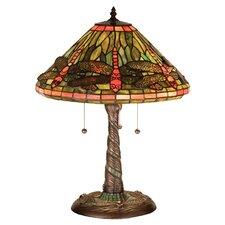 "Tiffany 21"" H Dragonfly with Twisted Fly Mosaic Base Table Lamp"