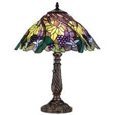<strong>Meyda Tiffany</strong> Tiffany Floral Animals Spiral Grape Table Lamp