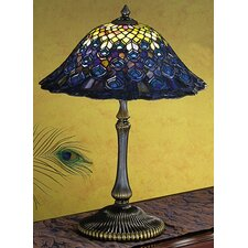 "Tiffany 22"" H Peacock Feather Table Lamp"