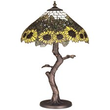 "Wild Tiffany Sunflower 23.5"" H Table Lamp with Bowl Shade"