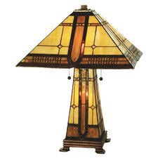 "Sierra Prairie Mission Lighted Base 25"" H Table Lamp with Square Shade"