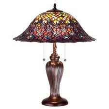"Tiffany 25"" H Peacock Feather Table Lamp"