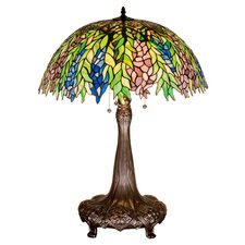 """Tiffany Locust 31"""" H Table Lamp with Bowl Shade"""