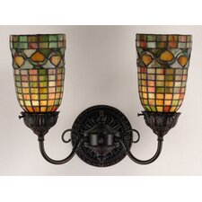 Victorian Tiffany Acorn 2 Light Wall Sconce