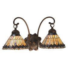 Tiffany Gothic Nouveau Jeweled Peacock 2 Light Wall Sconce