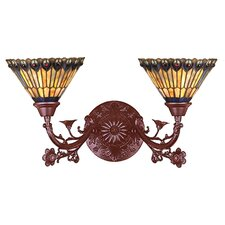 Tiffany Jeweled Peacock 2 Light Wall Sconce