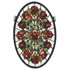 Tiffany Nouveau Oval Rose Garden Stained Glass Window