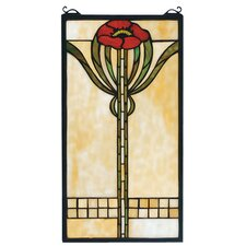 <strong>Meyda Tiffany</strong> Floral Parker Poppy Stained Glass Window