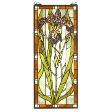 "28"" H Tiffany Nouveau Iris Stained Glass Window"
