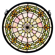 Tiffany Fleur-De-Lis Medallion Stained Glass Window