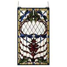 "25"" H Floral Dragonfly Allure Stained Glass Window"