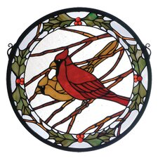 Animals Holiday Cardinals and Holly Medallion Stained Glass Window