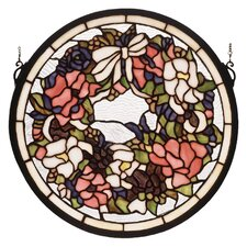 Revival Wreath and Garland Medallion Stained Glass Window