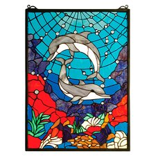 <strong>Meyda Tiffany</strong> Tiffany Nautical Dolphin Dance Stained Glass Window