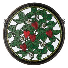 Tiffany Floral Fruit Strawberry Medallion Stained Glass Window
