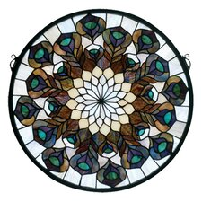 Deco Tiffany Nouveau Peacock Feather Medallion Stained Glass Window