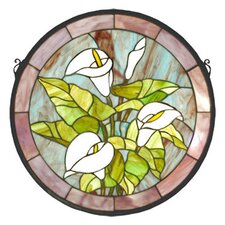 Tiffany Calla Lily Medallion Stained Glass Window