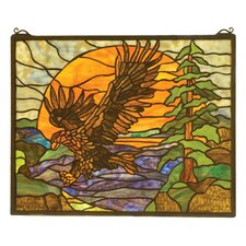 Rustic Lodge Americana Eagle at Sunset Stained Glass Window