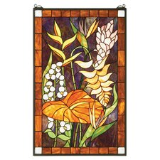 Tiffany Tropical Floral Stained Glass Window