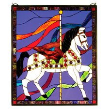 Tiffany Recreation Carousel Horse Stained Glass Window