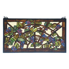 Victorian Fruit Tiffany Grape Arbor Stained Glass Window