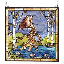 Victorian Floral Ecstasy in Woodland Stream Stained Glass Window