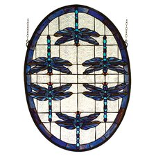 Animals Nouveau Dragonflies Oval Stained Glass Window