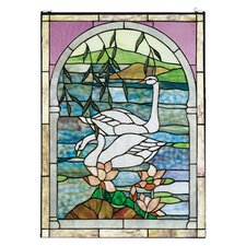 <strong>Meyda Tiffany</strong> Tiffany Floral Animals Nouveau Swans Stained Glass Window