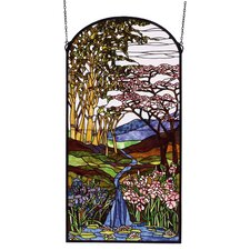 <strong>Meyda Tiffany</strong> Tiffany Floral Waterfall Iris and Birch Stained Glass Window