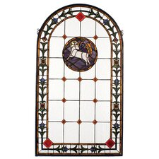 Victorian Tiffany Religious Lamb of God Stained Glass Window
