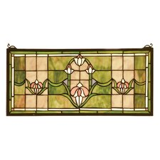 Victorian Tiffany Floral Nouveau Tulips Transom Stained Glass Window