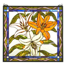 Tiffany Floral Nouveau Tigerlily Stained Glass Window