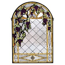 Tiffany Floral Country Grape Diamond Trellis Stained Glass Window