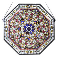 Victorian Tiffany Floral Front Hall Stained Glass Window