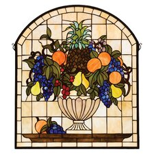 <strong>Meyda Tiffany</strong> Victorian Fruit Fruitbowl Stained Glass Window