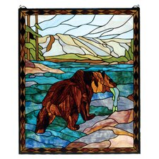 Lodge Animals Grizzly Bear Stained Glass Window