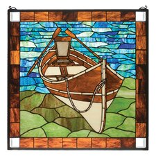 Lodge Tiffany Nautical Recreation Beached Guideboat Stained Glass Window