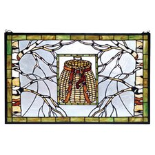<strong>Meyda Tiffany</strong> Lodge Pack Basket Stained Glass Window