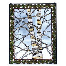 Rustic Lodge Birch Tree in Winter Stained Glass Window