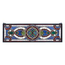 Victorian Tiffany Nouveau Evelyn in Lapis Transom Stained Glass Window
