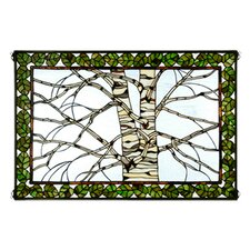 Rustic Lodge Tiffany Birch Tree in Winter Stained Glass Window