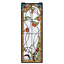 Tiffany Cat and Tulips Stained Glass Window
