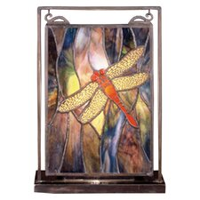 Floral Insects Tiffany Dragonfly Lighted Mini Table Lamp