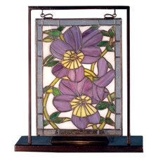 Floral Pansies Lighted Mini Table Lamp